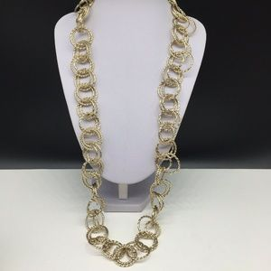 Talbots Gold Tone Circle Chain Link Long Necklace